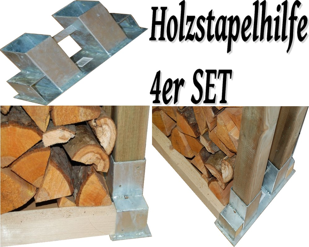 4x holzstapelhilfe stapelhilfe holzstapelhalter brennholz kaminholz gestell holz ebay. Black Bedroom Furniture Sets. Home Design Ideas