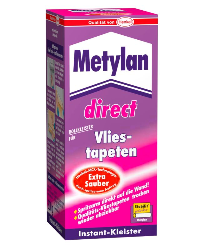 metylan direct vlies tapeten kleister 200 g tapetenkleister von henkel ebay. Black Bedroom Furniture Sets. Home Design Ideas
